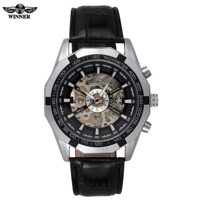 Skeleton Automatic Watch Black Dial Silver Case Black Leather Band by WINNER