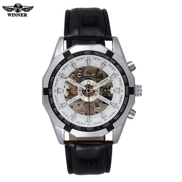 Skeleton Automatic Watch White Dial Silver Case Black Leather Band by WINNER