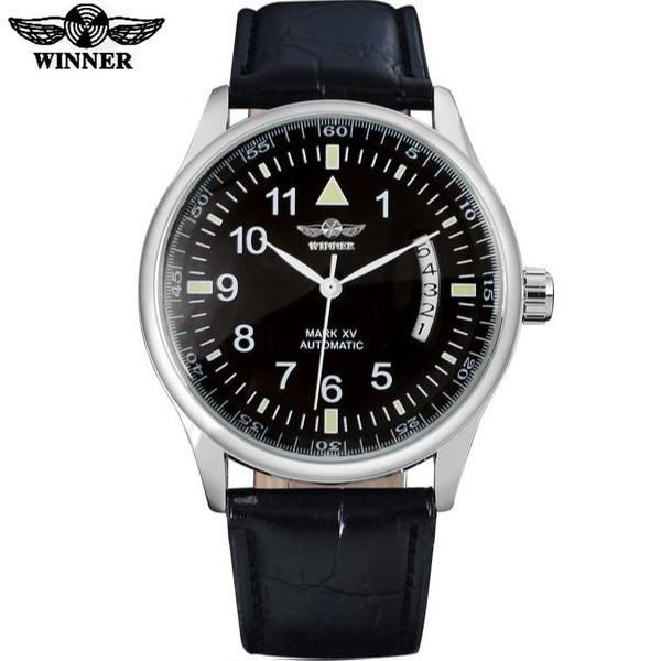 Automatic Self Winding Auto Date Watch Black Dial Black Ring Black leather band by WINNER