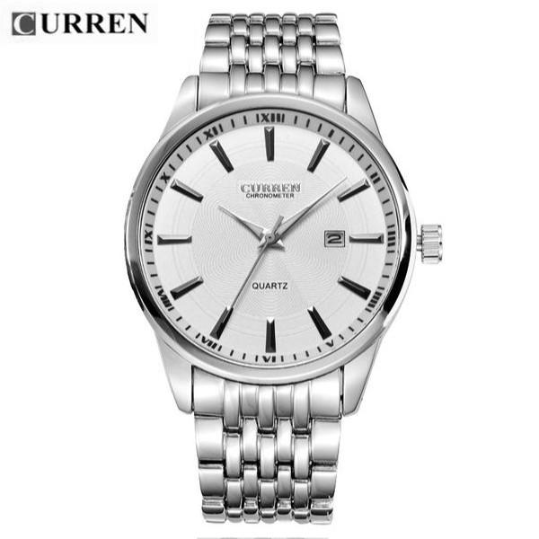 Quartz Watch White Dial Stainless Steel Band by CURREN
