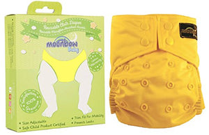 Reusable Waterproof Cloth Baby Diaper: Pocket Cover for Diapers with Two Inserts (Starlight Flare Yellow)