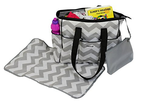 Diaper Bag Chevron w/ Changing Mat, Premium Designer Diapers Bag for Girls Boys Twins, Baby Shower Gifts for Mom Dad