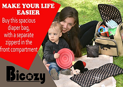 2017 New Design Mommy Diaper Bag BICOZY Shoulder Strap or Hand Carried Mom Bag W/ + EBOOK Included +Changing mat Cute Baby Tote for Moms - Excellent Mother Bag Gift Set