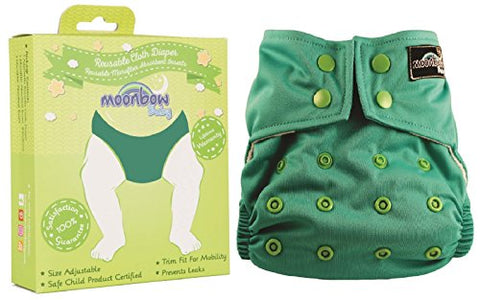 Reusable Waterproof Cloth Baby Diaper: Pocket Cover for Diapers with Two Inserts (River Bank Blue Green)