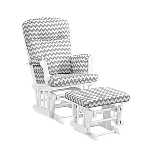 Angel Line Monterey Glider & Ottoman, White with Gray Chevron