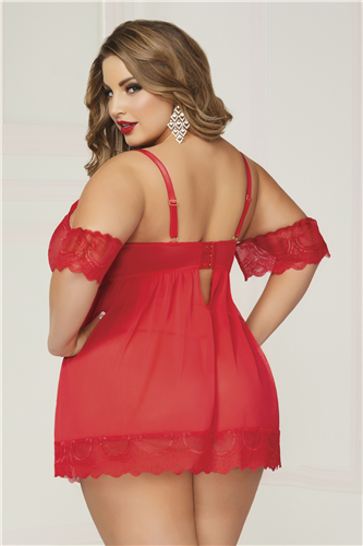 Luminary Red Floral Lace Babydoll