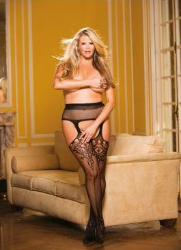 Fishnet & Lace Suspender Stockings