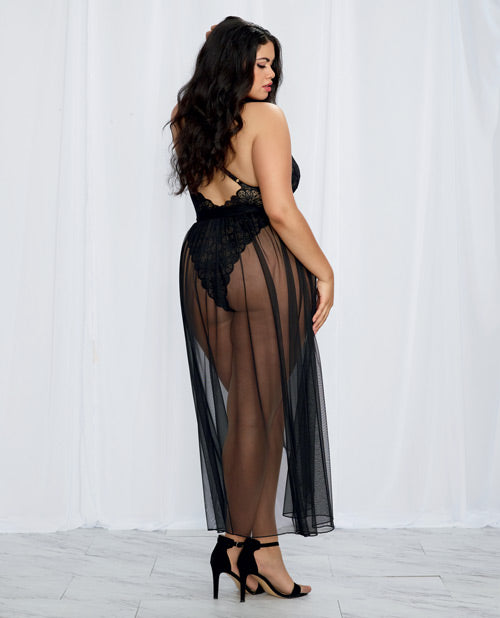 Helena Teddy & Sheer Mesh Maxi Skirt