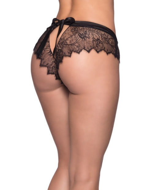 Open Back Eyelash Lace & Satin Tie Black Panty