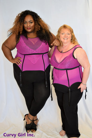 Chamia Magenta and Black Corset Top