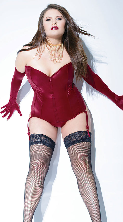 Holly Wet Look Plus Size Bustier designed by Coquette