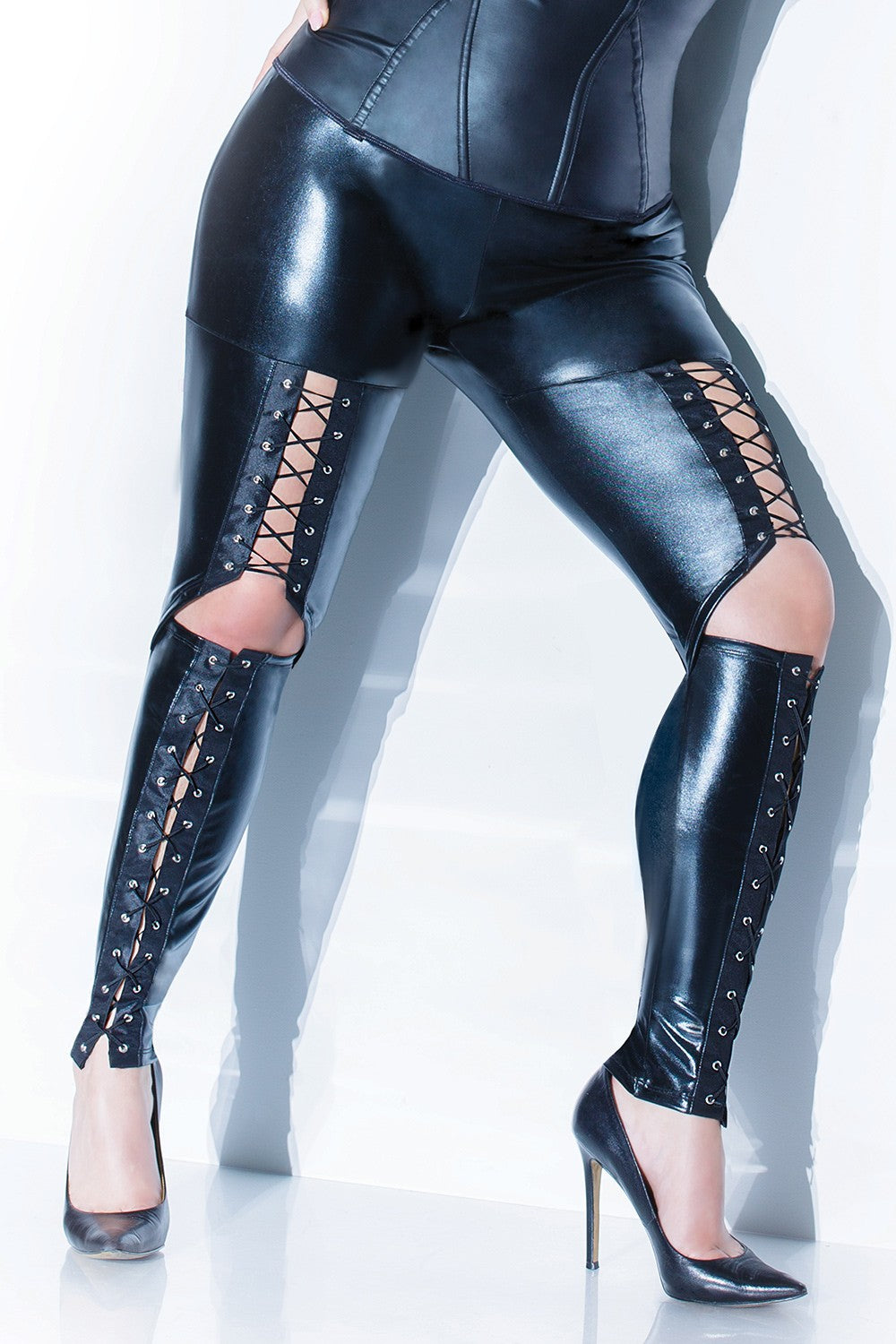 Black Wet Look Elastic Pants from Coquette : Plus Size Lace Up Pants