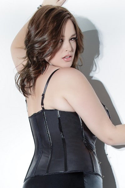 Matte Black Plus Size Bustier from Coquette- Molded Underwires