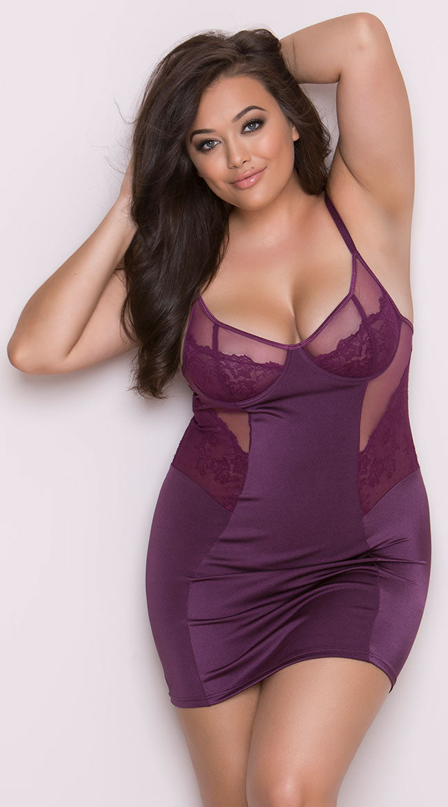Plum Plus Size Chemise with Lace from Coquette