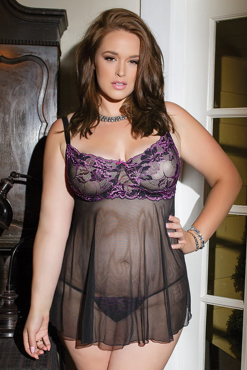 Scalloped Mesh Babydoll from Coquette