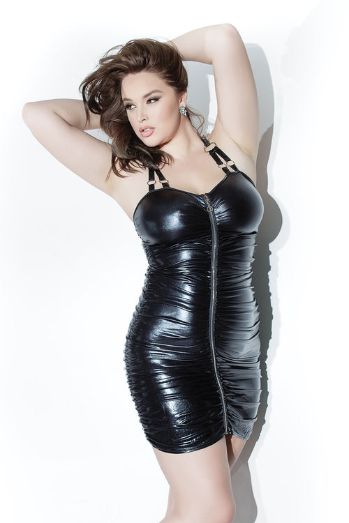 Ruched Wet Look Plus Size Dress from Coquette
