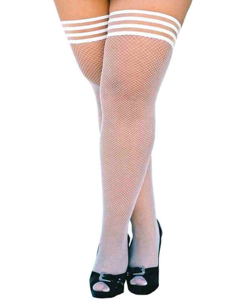 Kixies Sammy Fishnet Thigh High White