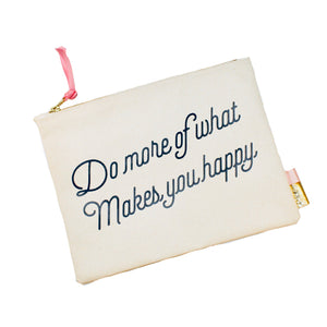 "Pipi Cucu X Lifetique ""Do More Of What Makes You Happy"" Canvas Clutch"
