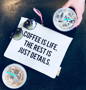 "Pipi Cucu X Lifetique ""Coffee Is Life, The Rest Is Just Details"" Canvas Clutch - Lifetique"