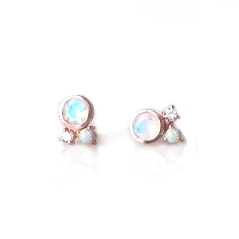 Rose Gold Rainbow Moonstone, Opal and Diamond Candy Studs - Lifetique