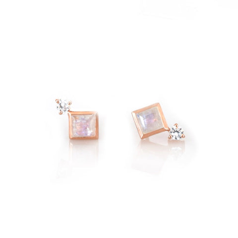Rose Gold Rainbow Moonstone Belle Studs - Lifetique