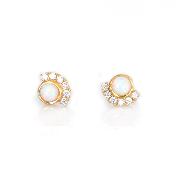 Opal + Diamond Parisian Sunset Studs - Lifetique