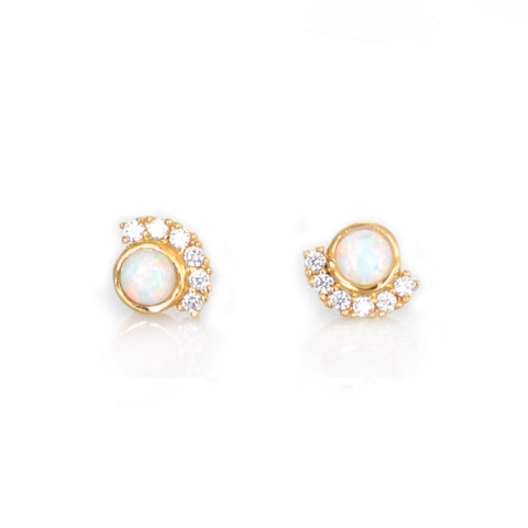 Opal + Diamond Parisian Sunset Studs