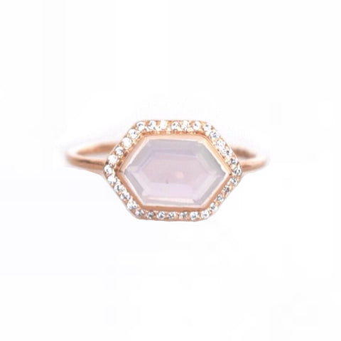 14kt Rose Gold Rose Quartz + Diamond Royale Ring