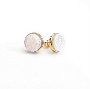 White Druzy Cluster Earrings