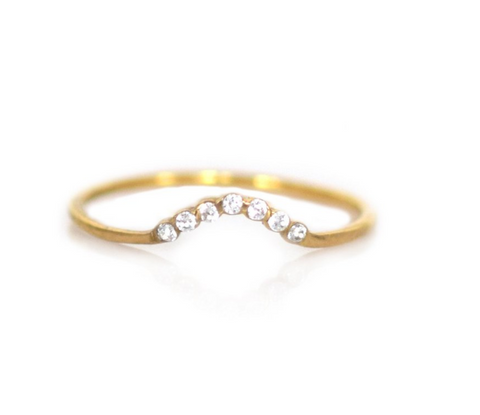 White Topaz Arc Ring