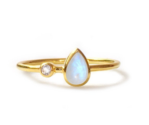 Rainbow Moonstone + Topaz Dew Drop Ring - Lifetique