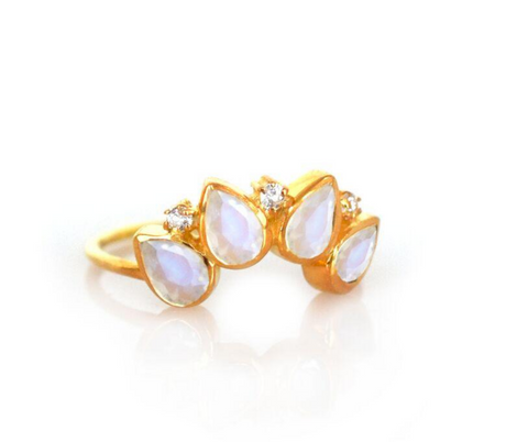Rainbow Moonstone and Diamond Horizon Ring