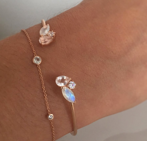 14k Rose Gold Rainbow Moonstone, Rose Quartz and Diamond Sweet Pea Cuff