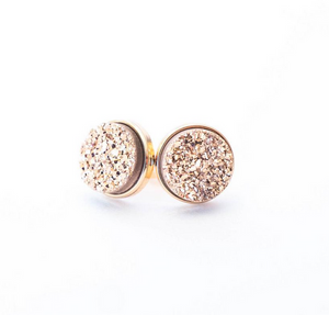 Rose Gold Druzy Cluster Earrings - Lifetique