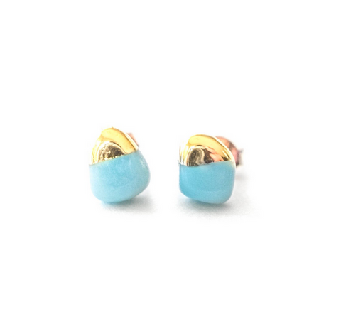 Gold Dipped Amazonite Earrings - Lifetique