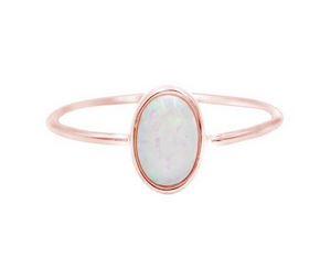 Rose Gold Opal Solitare Ring