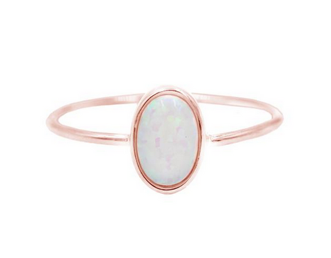 Rose Gold Opal Solitare Ring - Lifetique