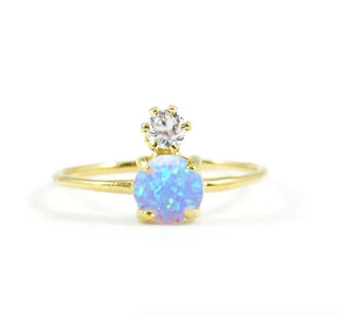 Double Dose Gold Ring (Blue Opal & Diamond)