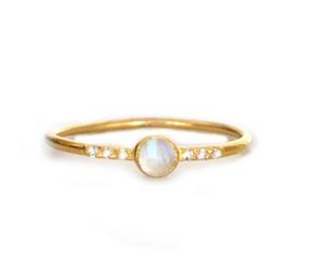 Rainbow Moonstone and Topaz Galaxy ring - Lifetique