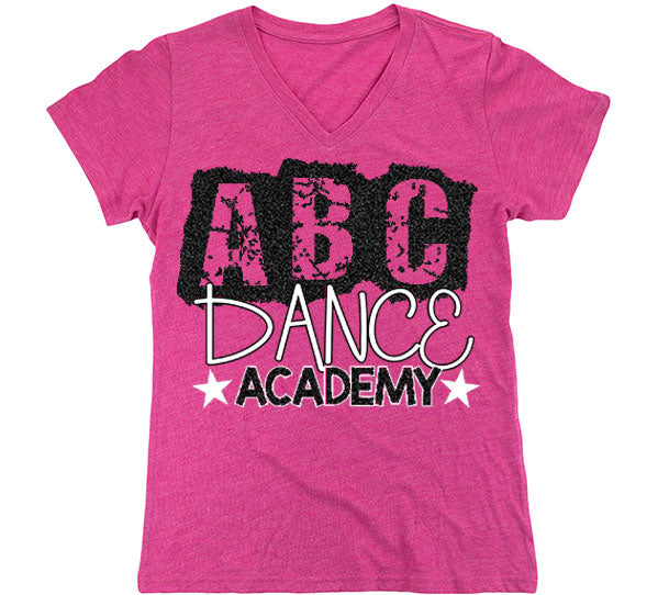 ABC V-Neck Short Sleeve Shirt-Pink