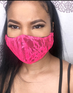 HOT PINK LACE FACE MASK