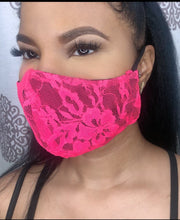 Load image into Gallery viewer, HOT PINK LACE FACE MASK