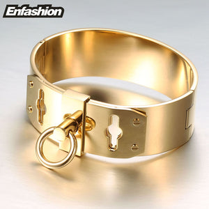 Enfashion Jewelry Circle Ring Wide Cuff Bracelet Noeud armband Gold