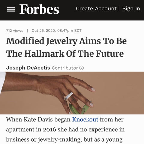 """Forbes feature of Knockout in article """"Modified Jewelry Aims To Be The Hallmark Of The Future""""."""