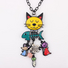 Image of New Design 2017 Unique Long Chain Necklace for Cat Lovers - 05 color pendant options