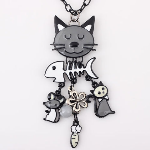 New Design 2017 Unique Long Chain Necklace for Cat Lovers - 05 color pendant options