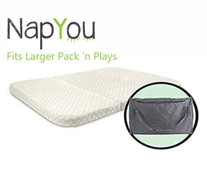 "Pack n Play Mattress, Convenient Fold with Bonus Easy Handle Carry Bag - Large Size 28"" x 40"""