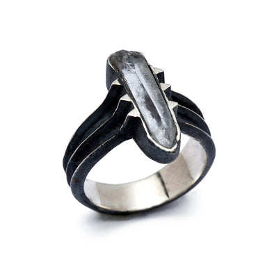 Crystal Ring, Statement Ring, Quartz Ring, Handmade Ring, Raw Stone Ring, Dark Ring, Modern Ring, Edgy Ring, Artisan Ring, Talisman Ring, Silver Ring Stone, Handcrafted Ring, Black Fashion Ring, Contemporary Ring, Dark Silver Ring, One Of A Kind Ring, OOAK Ring