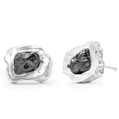 Slice Studs With Raw Black Diamonds