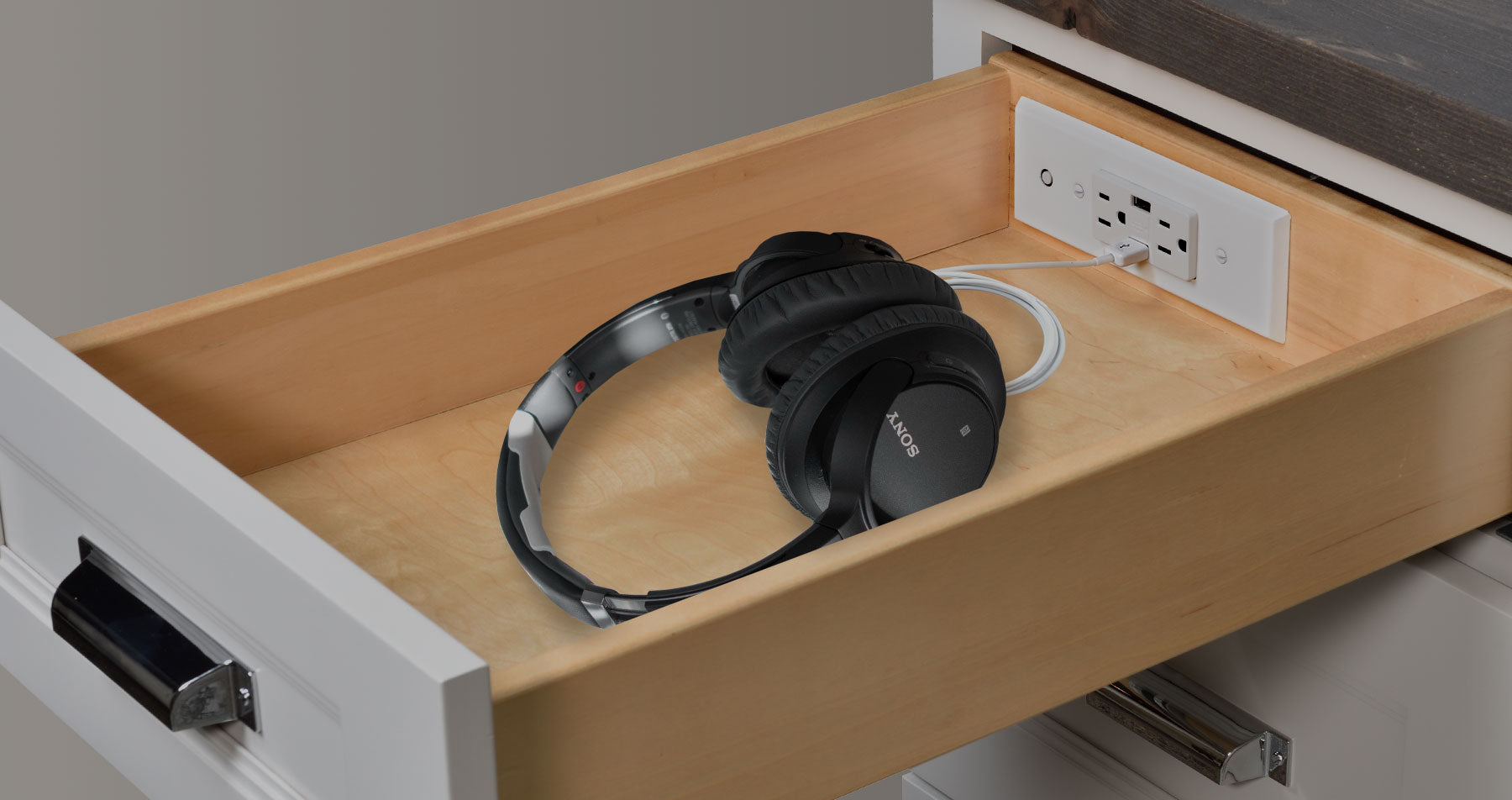 headphones charging station drawer